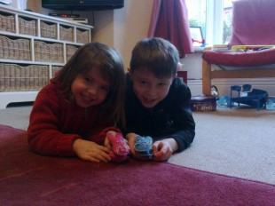 Eleanor and Finlay with their Buttonbag Bunnies