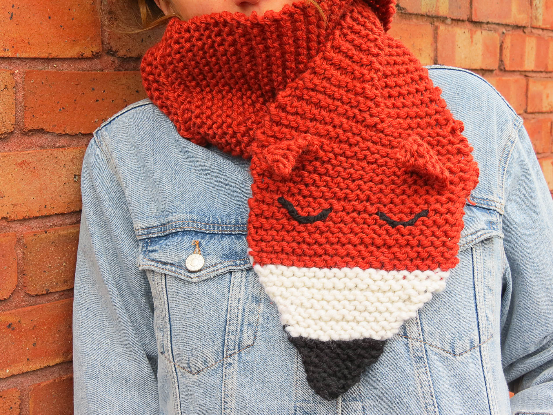 Knitting your foxy scarf and mittens is easy with a Buttonbag Knitting Kit